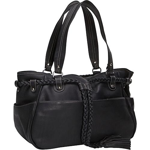 Piel Braided Belt Shoulder Bag - Black