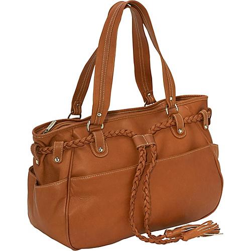 Piel Braided Belt Shoulder Bag - Saddle