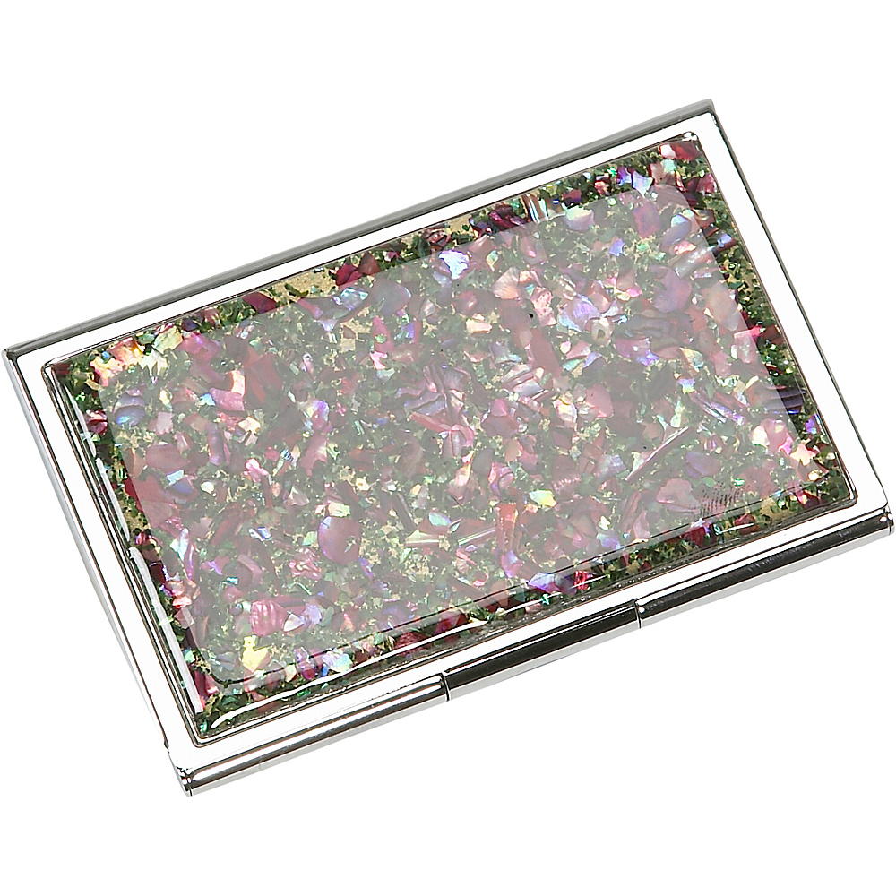Budd Leather Mother of Pearl Business Card Case As