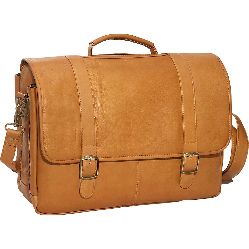 David King & Co. Porthole Laptop Briefcase Tan - David King & Co. Non-Wheeled Business Cases