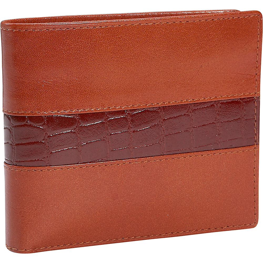Leatherbay Double Fold Wallet w/Croc Accents - Cognac