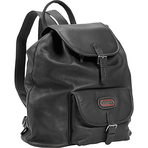Leatherbay Leather Backpack w/One Pocket - Black