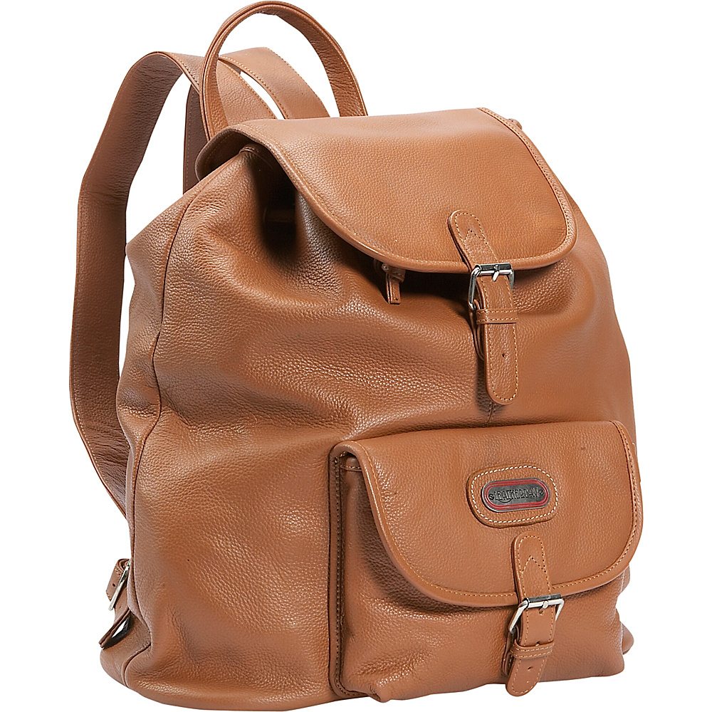 Leatherbay Leather Backpack w/One Pocket - Tan