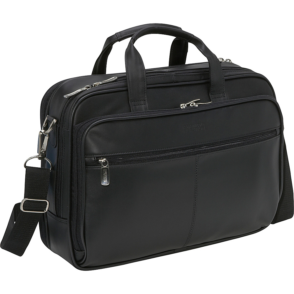 Kenneth Cole Reaction Leather Zip-Top Portfolio - Black - Work Bags & Briefcases, Non-Wheeled Business Cases
