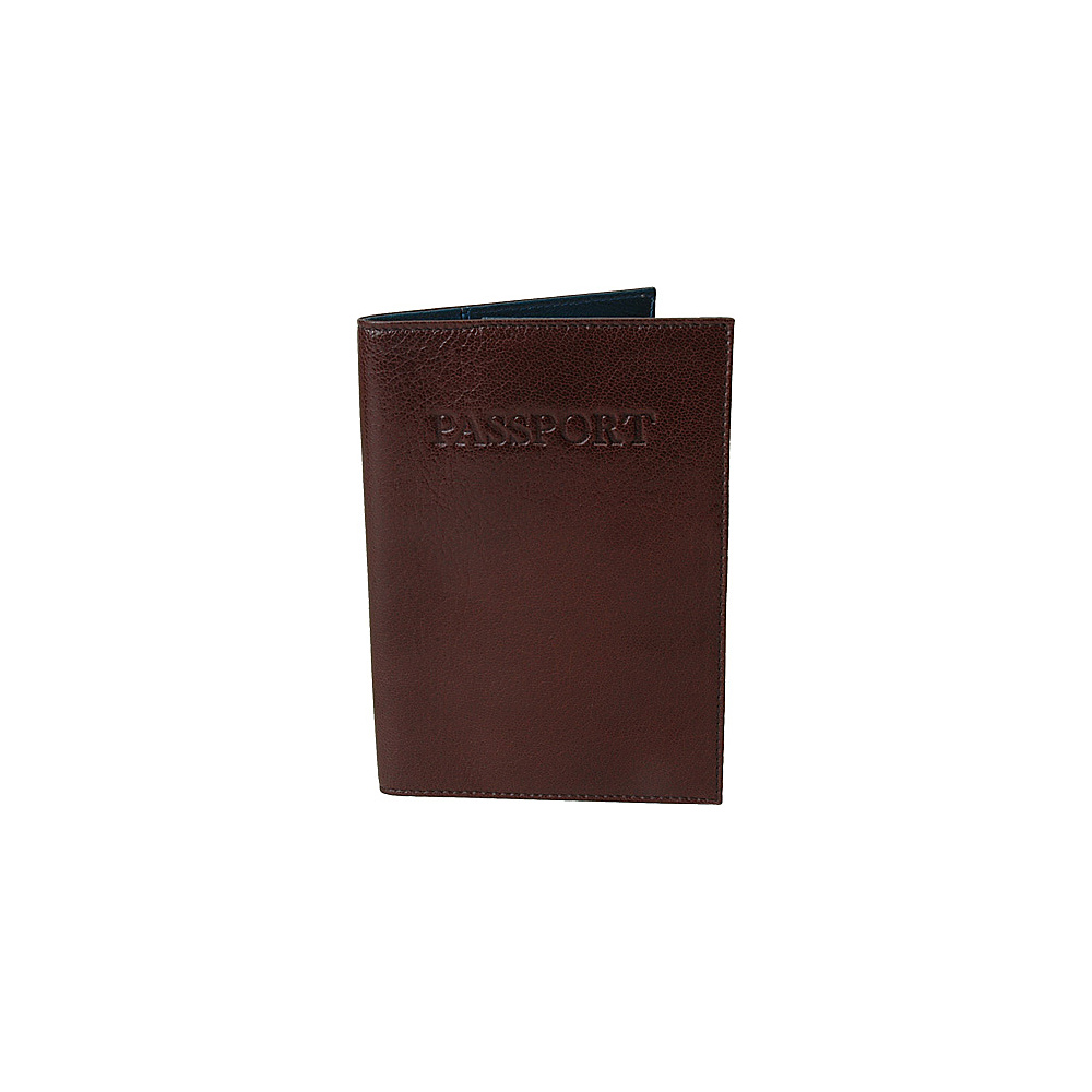 TUSK LTD Leonardo Passport cover - Chocolate/Blue - Travel Accessories, Travel Wallets