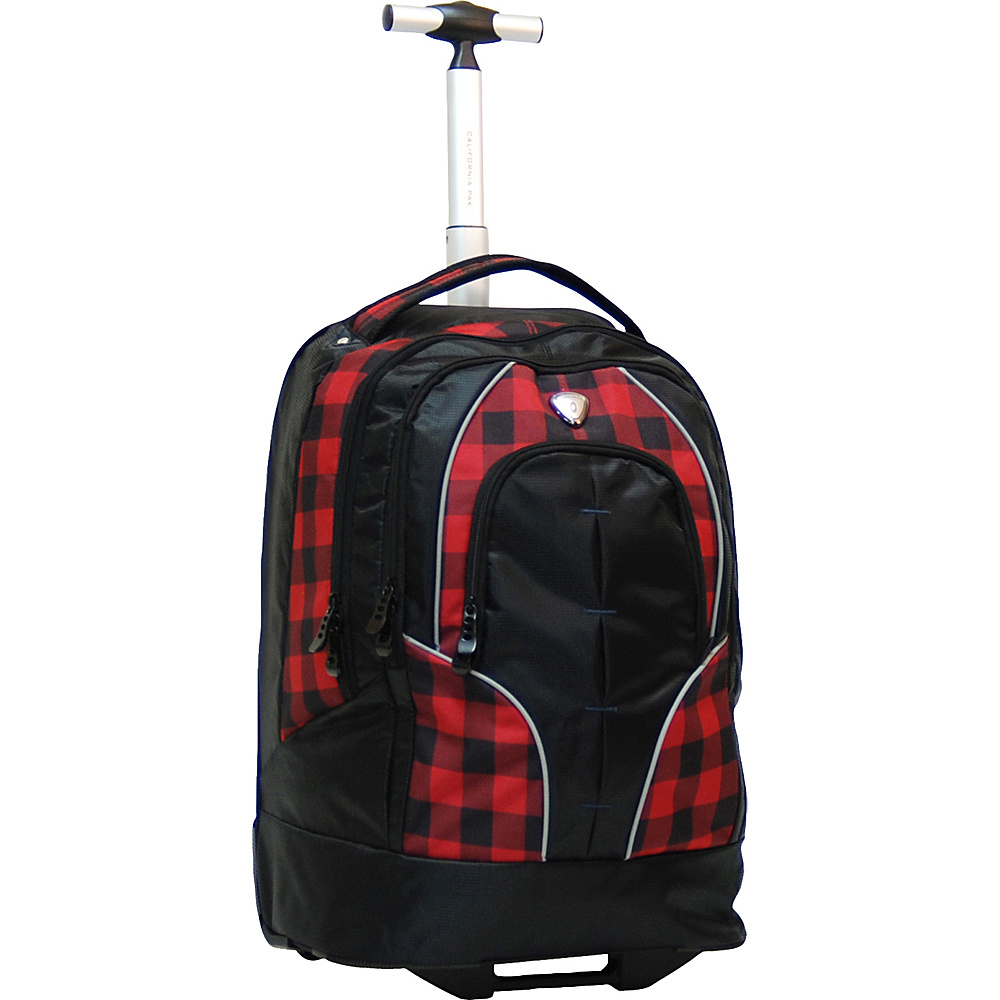 "CALPAK Rickster 20"" Notebook Rolling Backpack Red Plaid - CALPAK Rolling Backpacks"