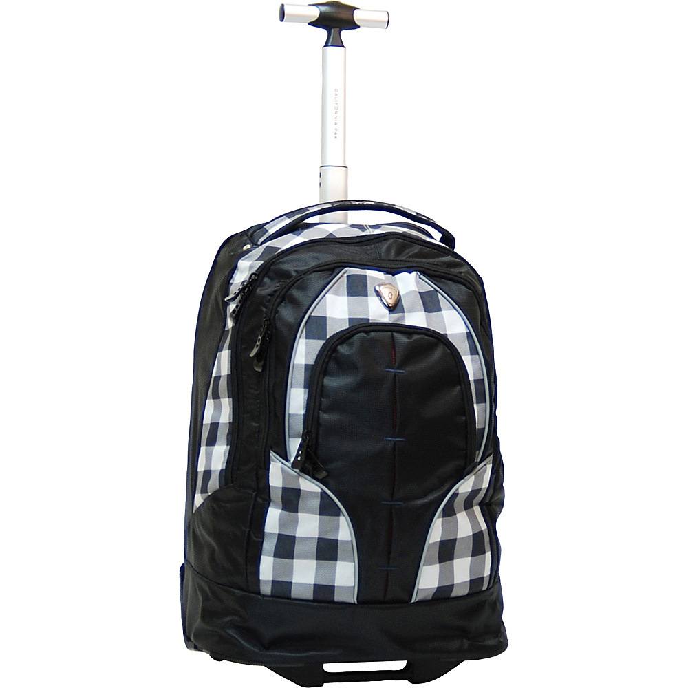 "CALPAK Rickster 20"" Notebook Rolling Backpack Black Plaid - CALPAK Rolling Backpacks"