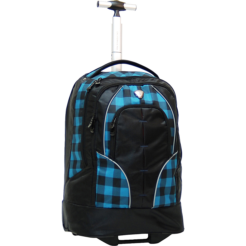 "CalPak Rickster 20"" Notebook Rolling Backpack Blue Plaid - CalPak Rolling Backpacks"