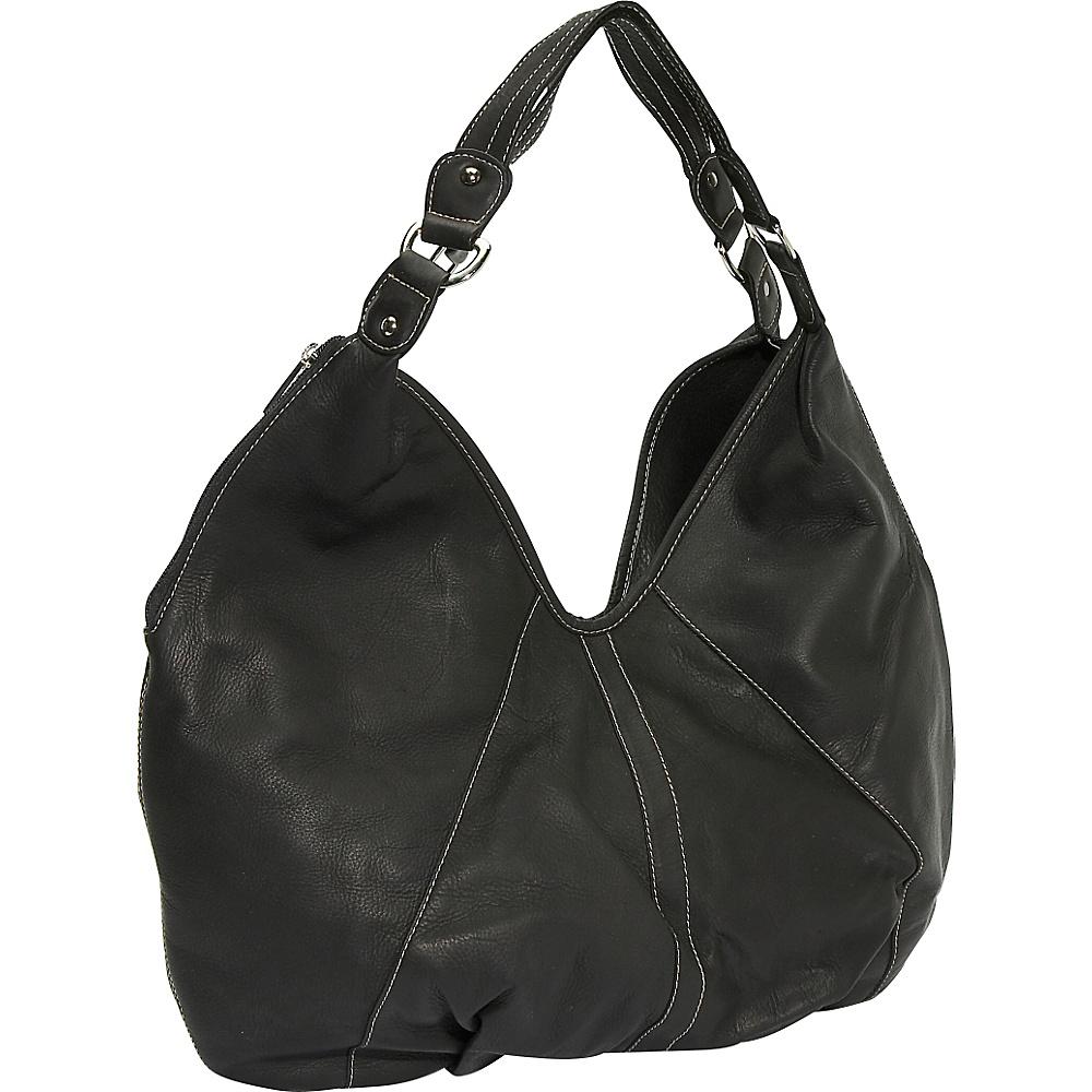Piel Ladies Large Hobo - Black - Handbags, Leather Handbags
