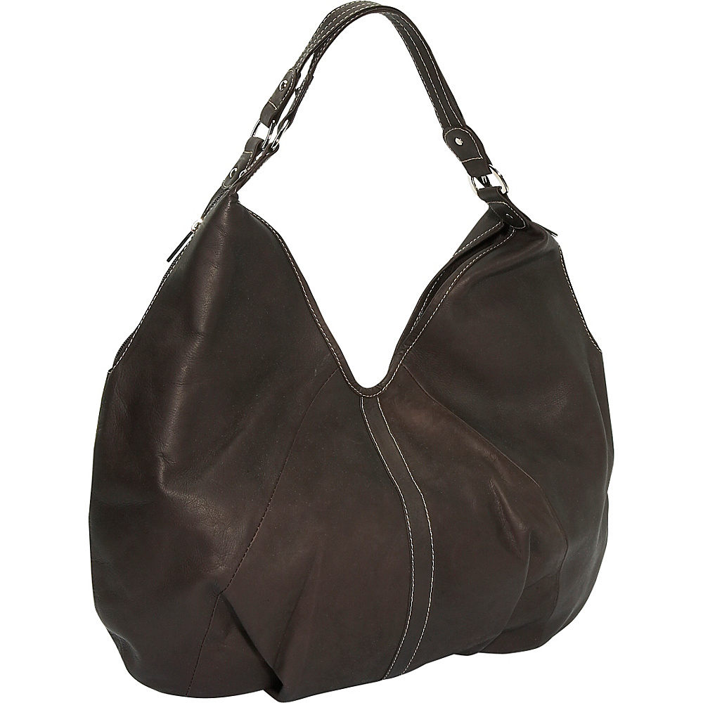 Piel Ladies Large Hobo - Chocolate - Handbags, Leather Handbags