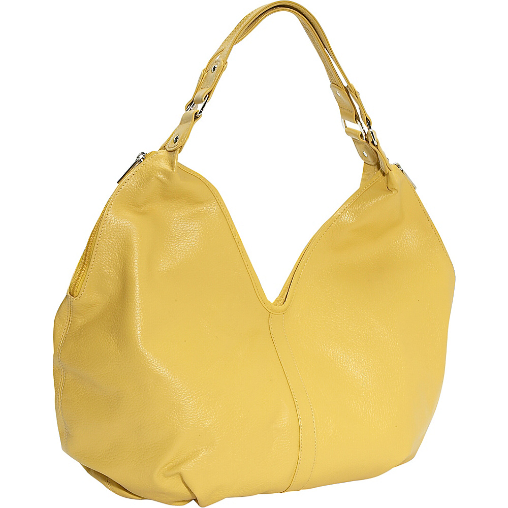 Piel Ladies Large Hobo - Yellow - Handbags, Leather Handbags