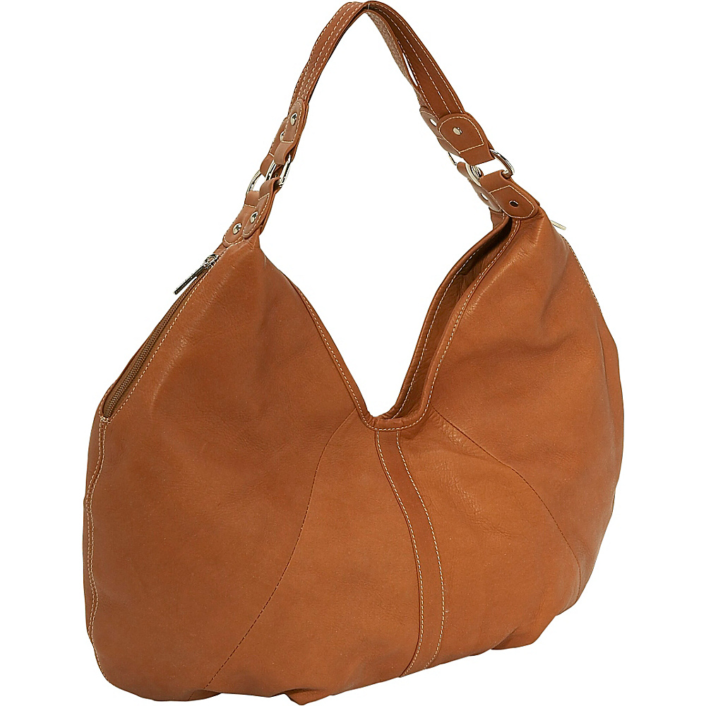 Piel Ladies Large Hobo - Saddle - Handbags, Leather Handbags