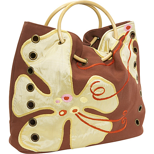Global Elements Canvas & Silk Floral Handbag