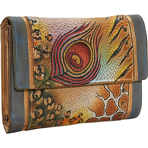 Anuschka Ladies Three Fold Wallet: Premium Peacock