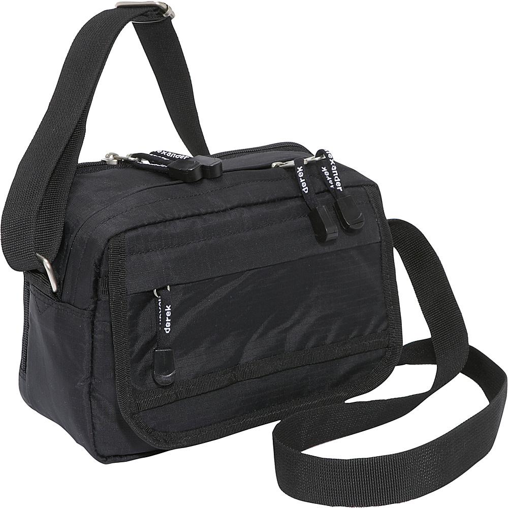 Derek Alexander Small Top Zip Shoulder Bag Black Fabric Handbags