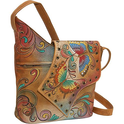 Anuschka Abstract Flap Bag: Henna Butterfly - Henna