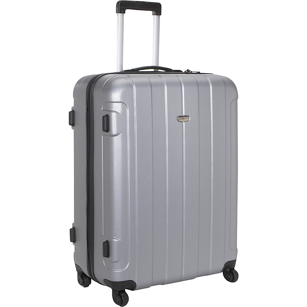 Travelers Choice Rome 29 in. Hardshell Spinner Suitcase Silver Grey - Travelers Choice Hardside Checked - Luggage, Hardside Checked