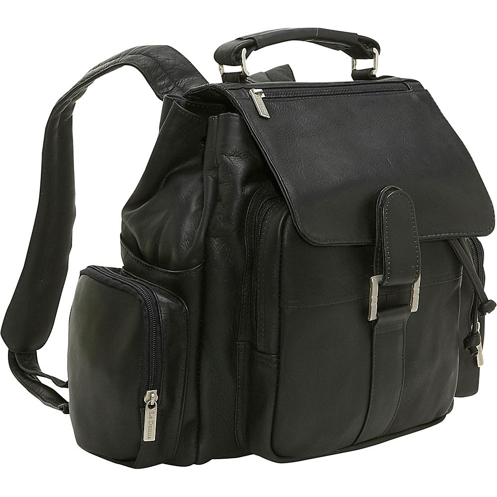 Le Donne Leather Multi Pocket Back Pack - Black - Backpacks, Everyday Backpacks