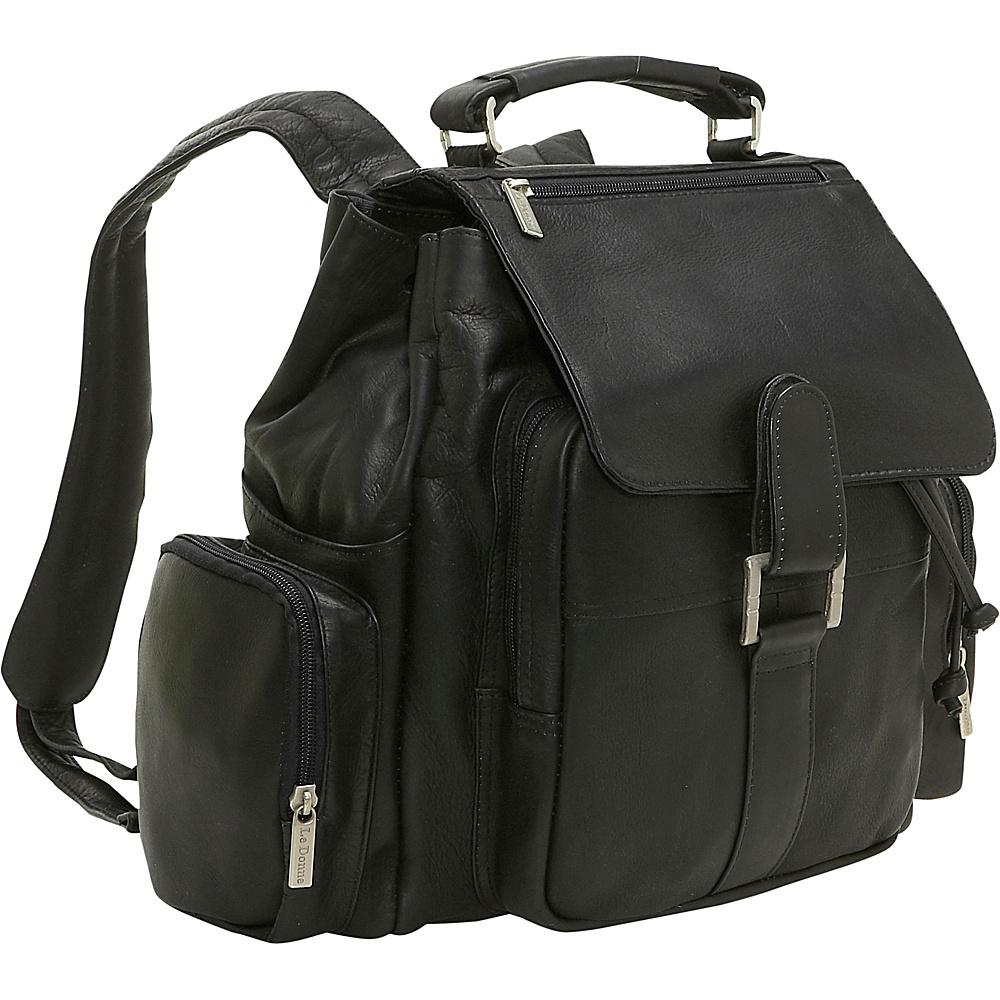Le Donne Leather Multi Pocket Back Pack - Black - Backpacks, Everyday Backpacks