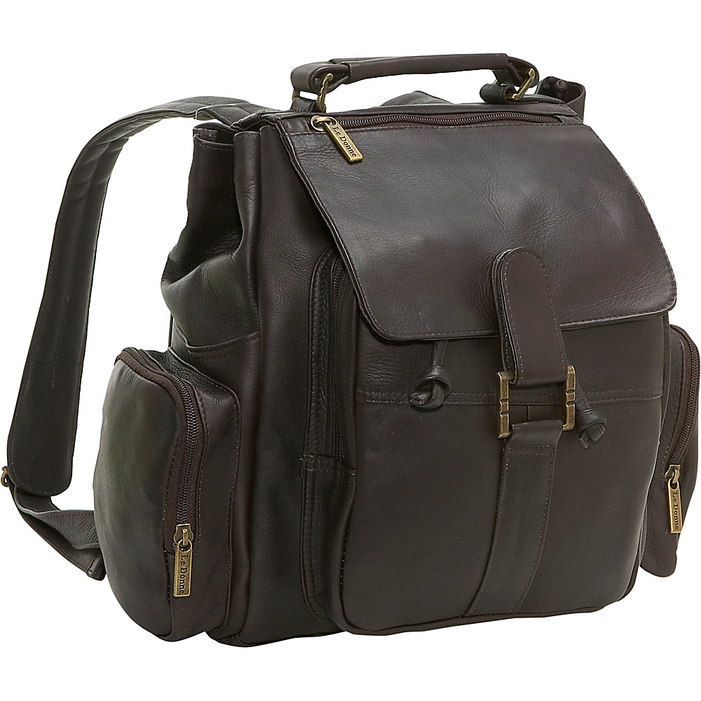 Le Donne Leather Multi Pocket Back Pack - Caf - Backpacks, Everyday Backpacks