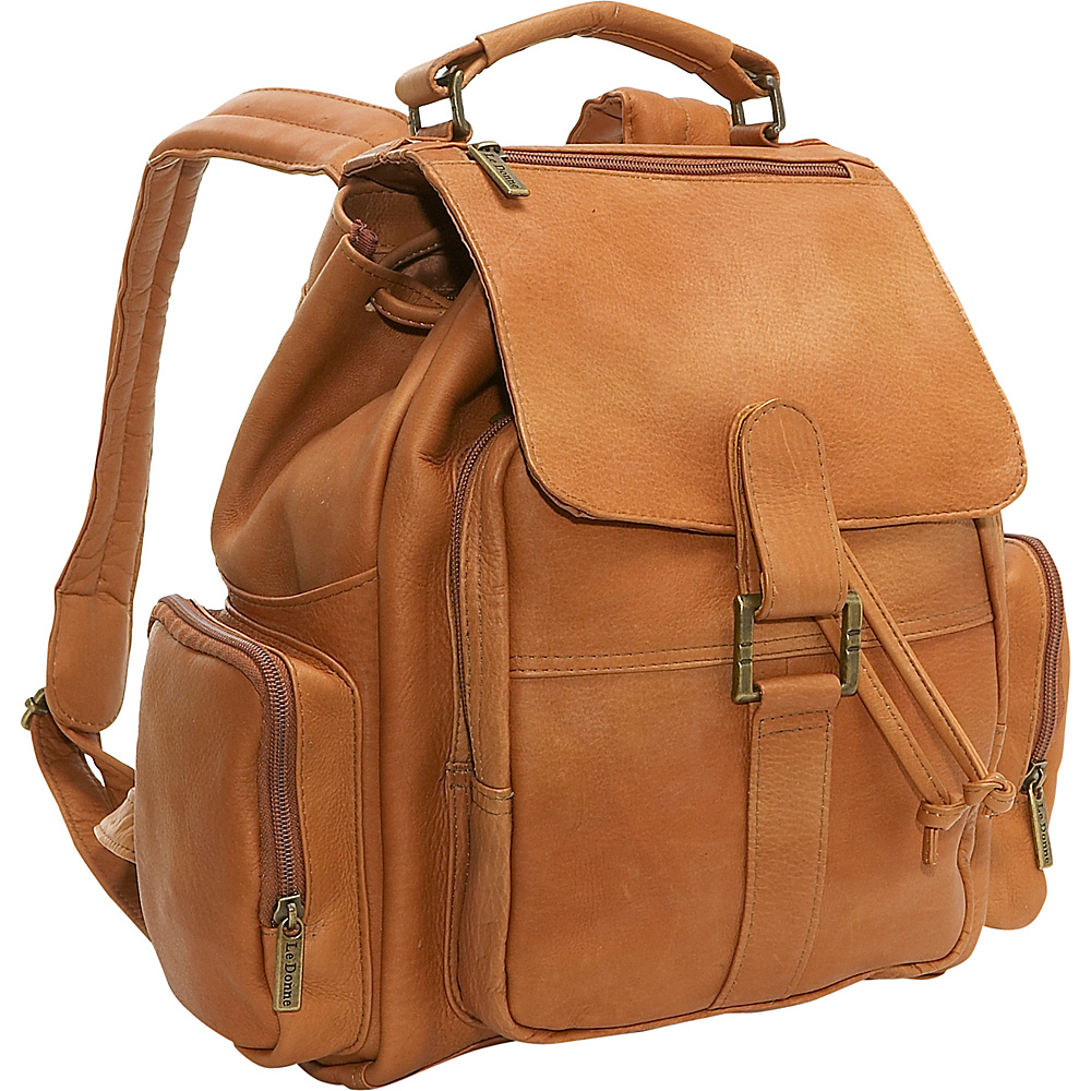 Le Donne Leather Multi Pocket Back Pack - Tan - Backpacks, Everyday Backpacks
