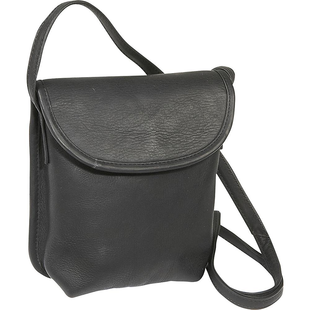 Le Donne Leather Magnetic Flap Mini - Black - Handbags, Leather Handbags