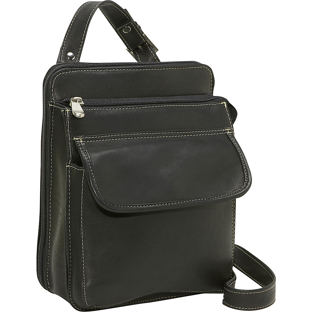Le Donne Leather Organizer Bag - Black - Handbags, Leather Handbags