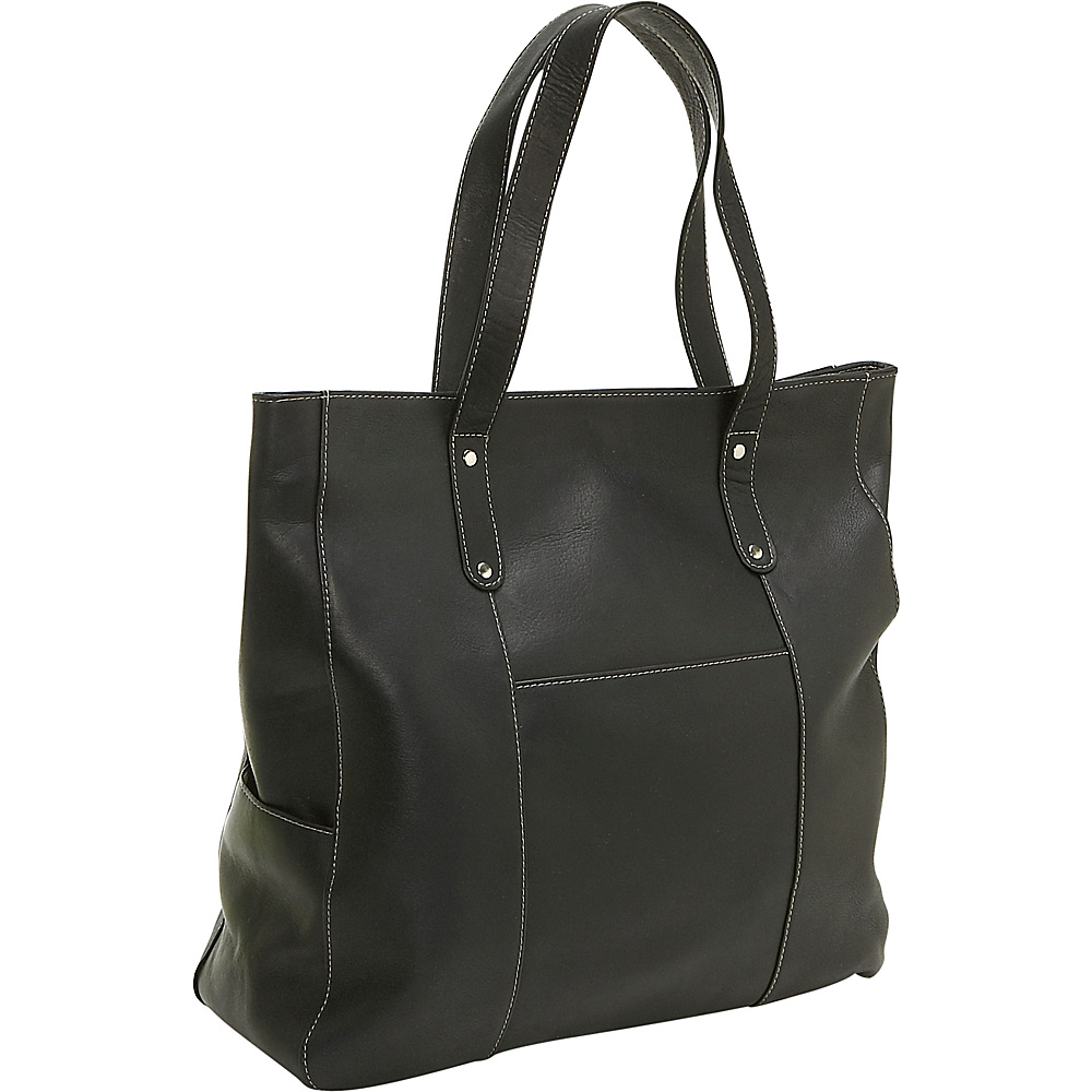 Le Donne Leather Large Slip Pocket Tote - Black - Handbags, Leather Handbags