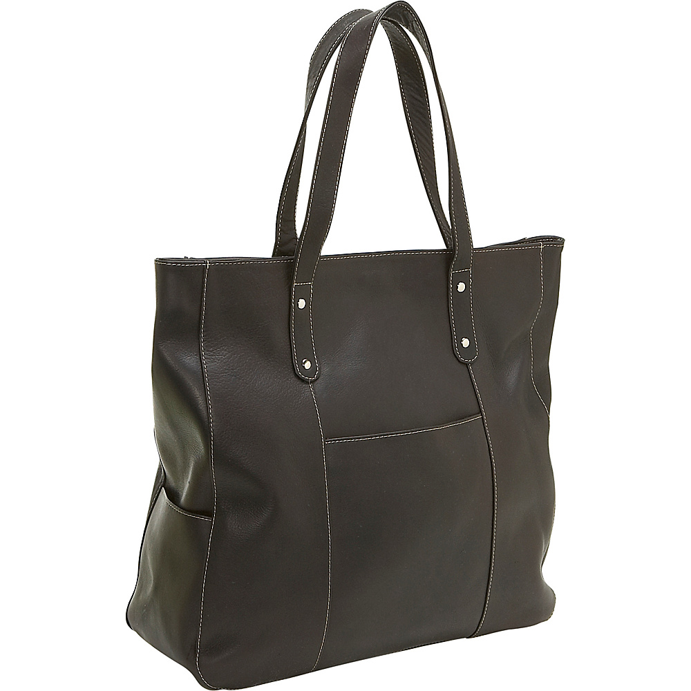 Le Donne Leather Large Slip Pocket Tote - Caf - Handbags, Leather Handbags