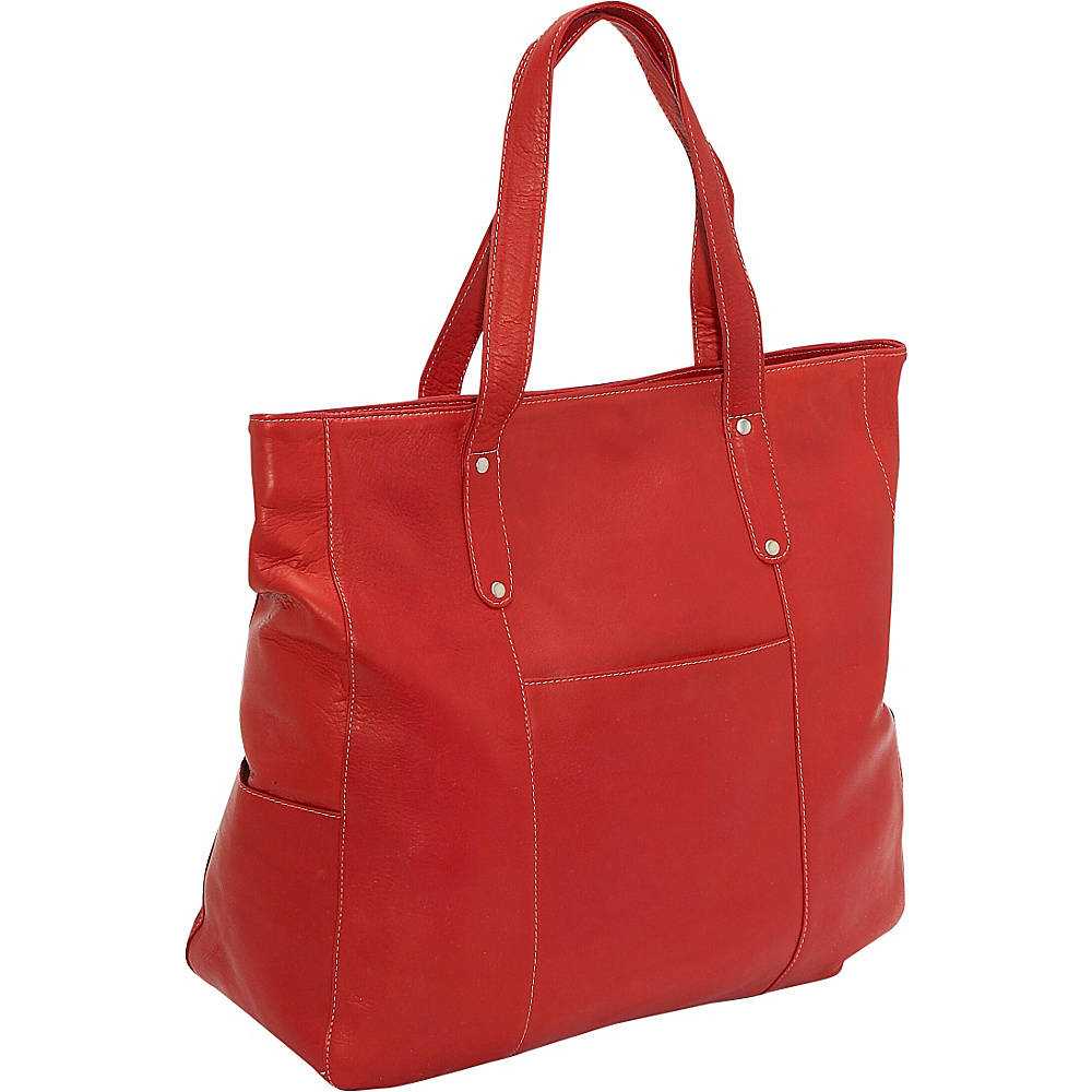 Le Donne Leather Large Slip Pocket Tote - Red - Handbags, Leather Handbags