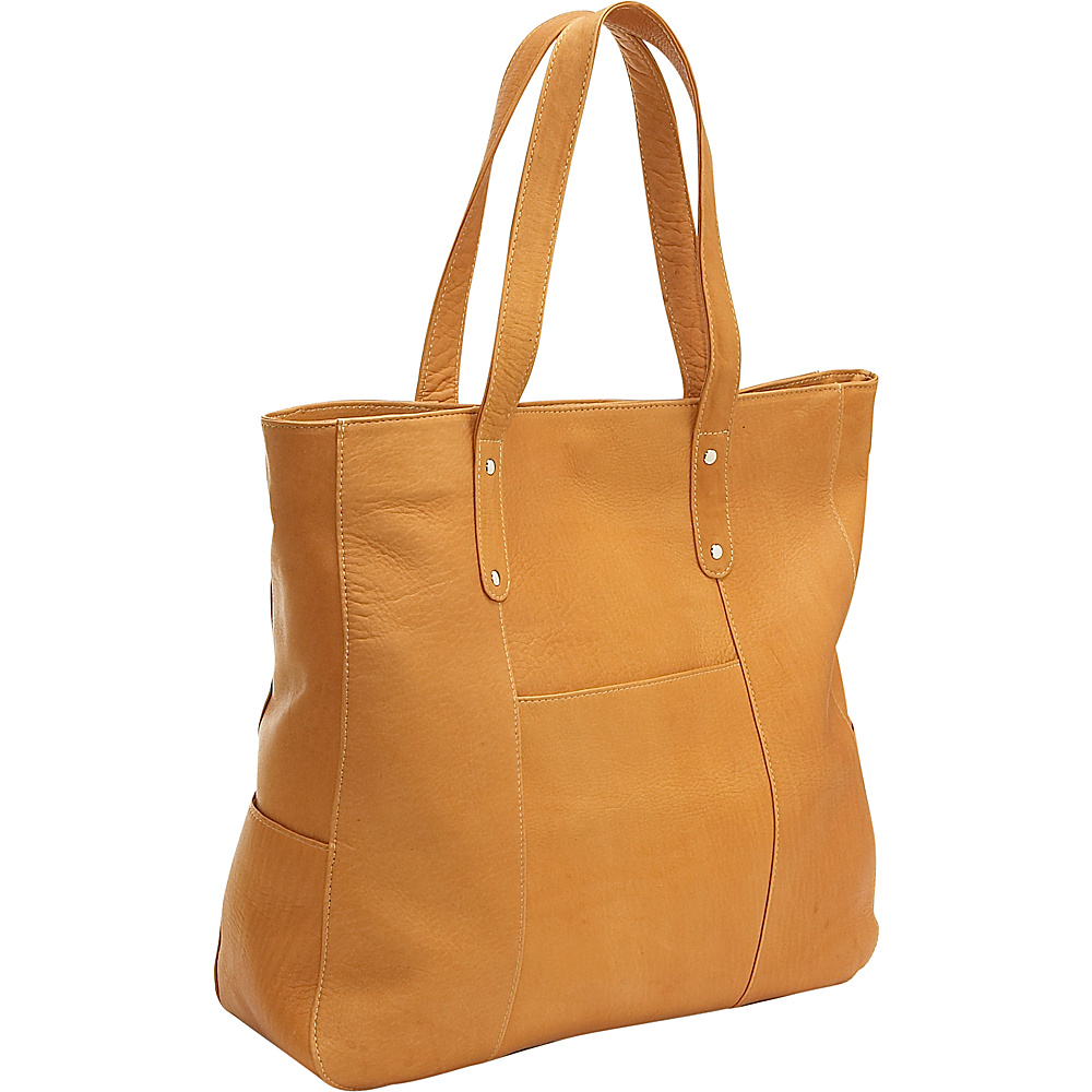 Le Donne Leather Large Slip Pocket Tote - Tan - Handbags, Leather Handbags