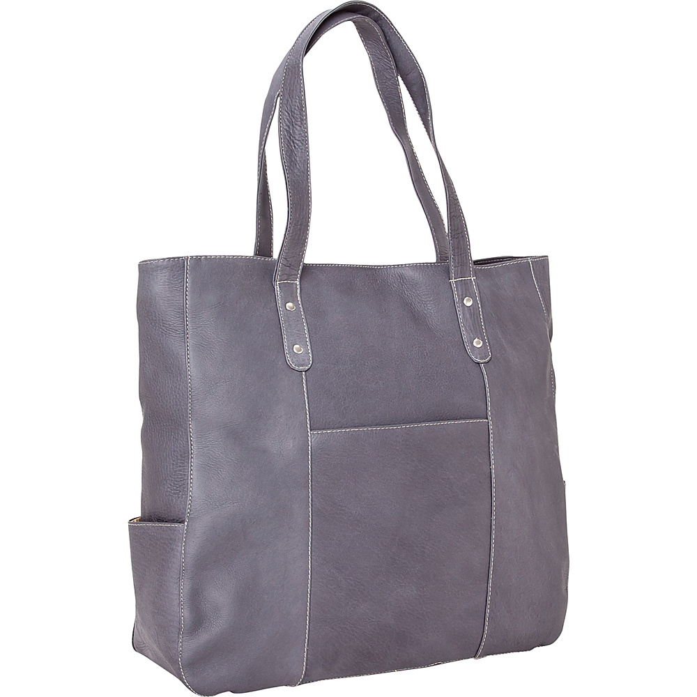 Le Donne Leather Large Slip Pocket Tote Gray - Le Donne Leather Leather Handbags - Handbags, Leather Handbags