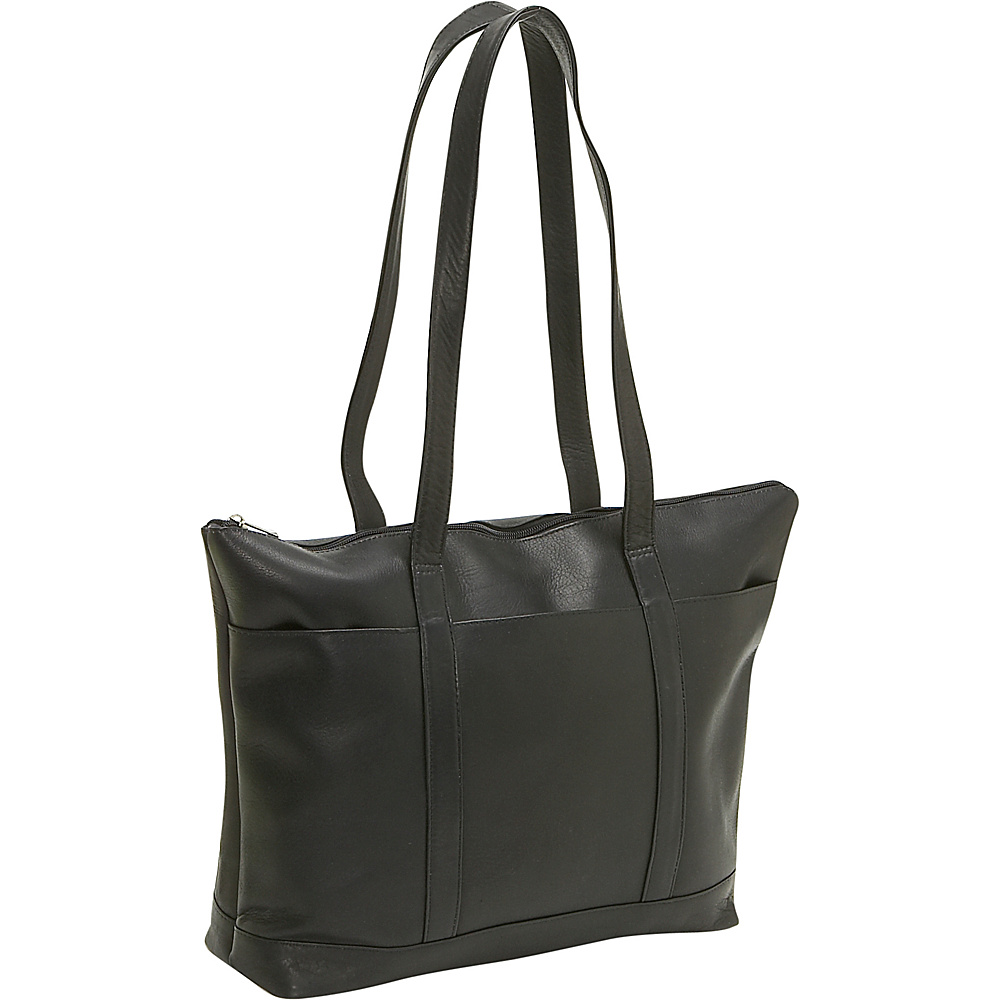 Le Donne Leather Double Strap Med Pocket Tote - Black - Handbags, Leather Handbags