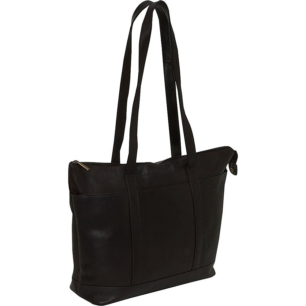 Le Donne Leather Double Strap Med Pocket Tote - Caf - Handbags, Leather Handbags