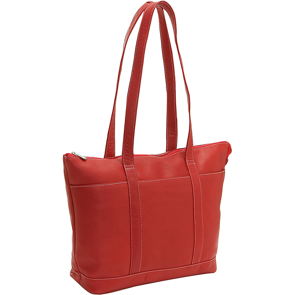 Le Donne Leather Double Strap Med Pocket Tote - Red - Handbags, Leather Handbags