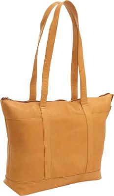 Le Donne Leather Double Strap Med Pocket Tote - Tan