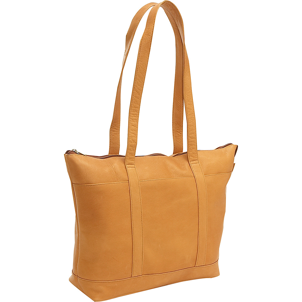 Le Donne Leather Double Strap Med Pocket Tote - Tan - Handbags, Leather Handbags