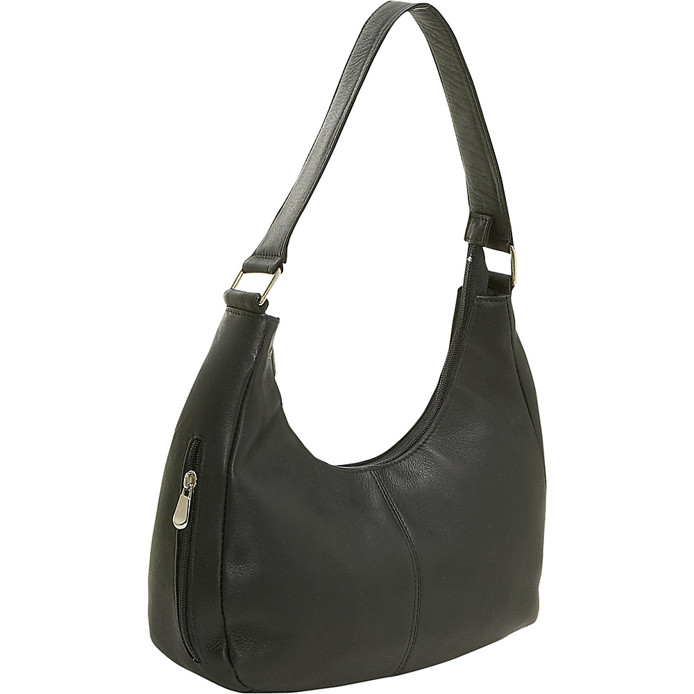 Le Donne Leather Single Handle Side Zip Hobo - Black - Handbags, Leather Handbags