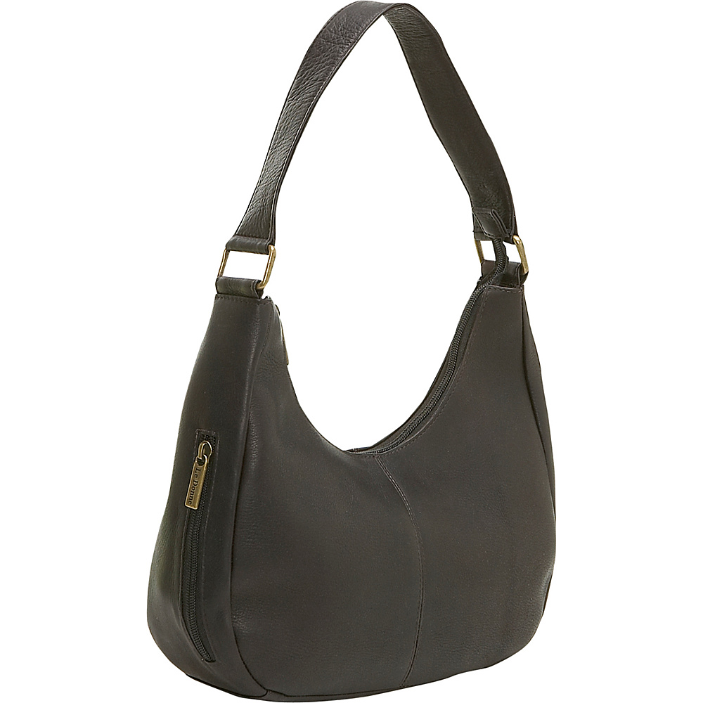 Le Donne Leather Single Handle Side Zip Hobo - Caf - Handbags, Leather Handbags