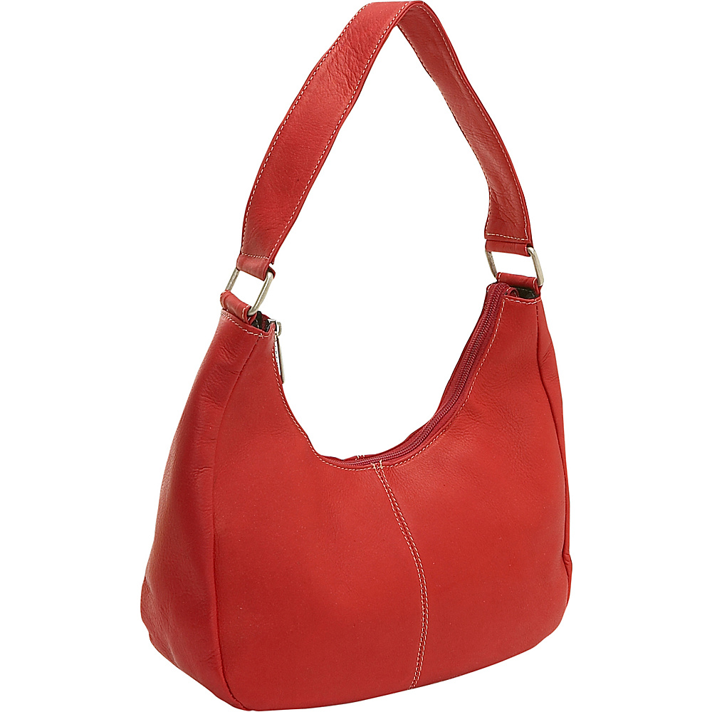 Le Donne Leather Single Handle Side Zip Hobo - Red - Handbags, Leather Handbags