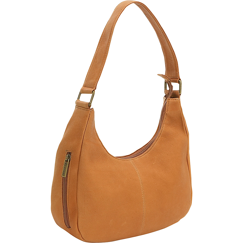 Le Donne Leather Single Handle Side Zip Hobo - Tan - Handbags, Leather Handbags