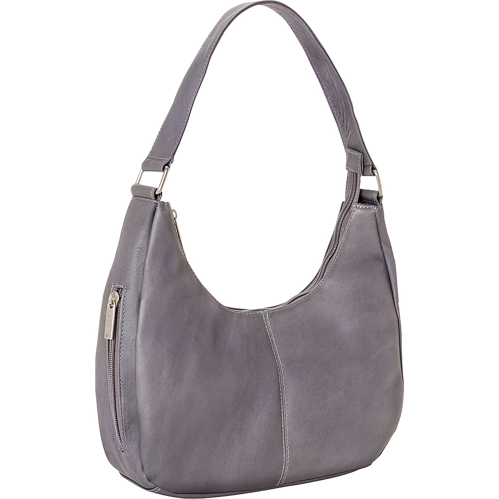 Le Donne Leather Single Handle Side Zip Hobo Gray - Le Donne Leather Leather Handbags - Handbags, Leather Handbags