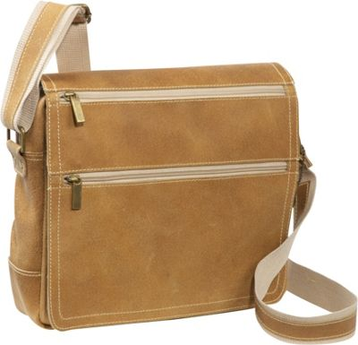 David King & Co. David King & Co. Double Zip Distressed Leather Small Messenger Distressed Tan - David King & Co. Messenger Bags