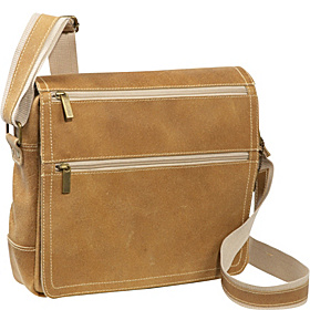 Double Zip Distressed Leather Small Messenger Distressed Tan