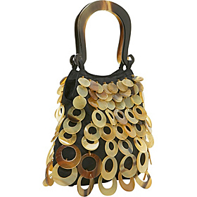 Layered Horn Circles on Silk Handbag Amber