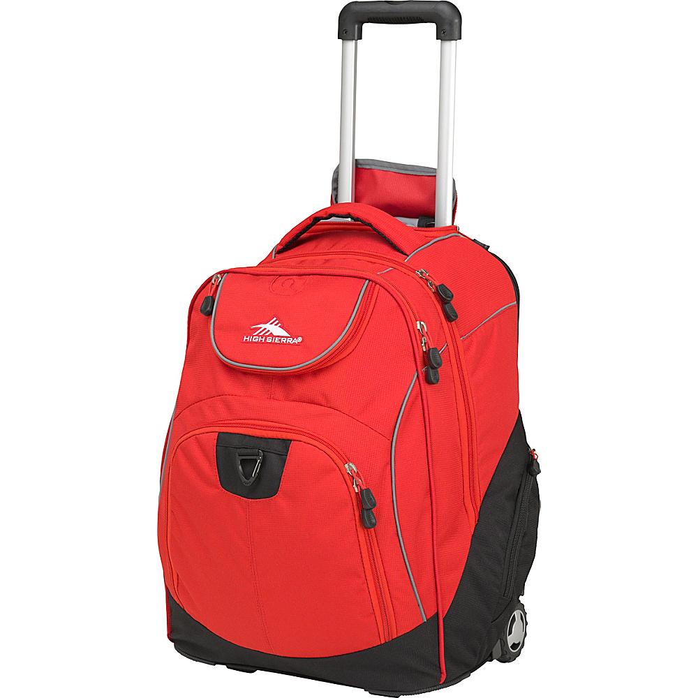 High Sierra Powerglide Rolling Laptop Backpack Crimson/Black - High Sierra Wheeled Backpacks