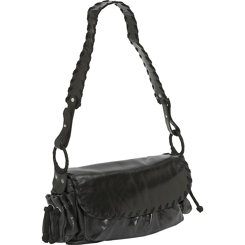 John Cole Farrah Small - Black with Panther - Handbags, Leather Handbags