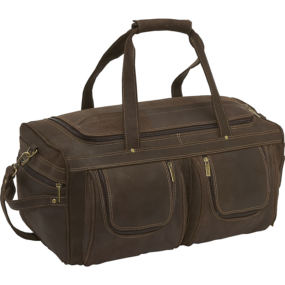 Le Donne Leather Distressed Leather Duffel - Chocolate - Duffels, Travel Duffels