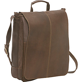 Distressed Leather 17'' Laptop Messenger Chocolate