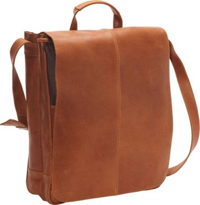 Le Donne Leather Distressed Leather 17 inch Laptop Messenger Tan - Le Donne Leather Messenger Bags